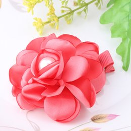 Wholesale Peony Hair Accessories Wholesale - Wholesale- Bohemia Style New Children Hair Accessories Fabric Peony Flower Hairpins Baby Headwear Hair Clip Hairpin Brooch Accessories