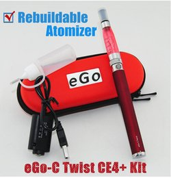 Wholesale Ego C Twist Rebuildable - Fashion Design Kit Ego-C twist CE4+ Rebuildable Atomizer with Variable Voltage 3.2-4.8V Ego twist battery Electronic Cigarette zippper kit