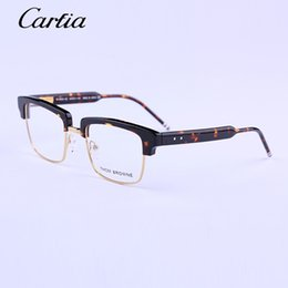 Wholesale Metal Optical Spectacles - HOT SALE optical frames 2016 THOM New York Brand TB806 Eyeglasses Frames Retro Fashion style metal half frame eye glasses spectacles