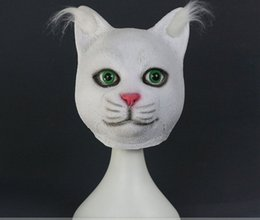 Wholesale Animal Cosplay - Wholesale-Full Head White Cat Cosplay Latex Animal Masks Masquerade Unisex Party Halloween