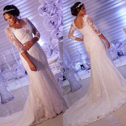 Wholesale Wedding Dresses Open Feather Train - Three Quarter Sleeve Sheath Wedding Dresses Lace Open Back Wedding Gowns with Appliques Sweep Train Beaded Feathers African Bride Dress
