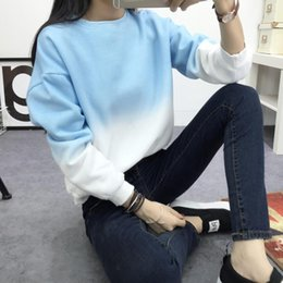 Wholesale Wholesale Winter Clothing For Women - 2016 iFall Winter Thick Fleece Sweatshirts Gradient Color Loose O Neck Cashmere Sweatshirts for Women Plus Size Clothing M-2XL QP048 5pcs