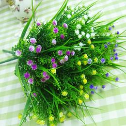 Wholesale Simulation Grass - Artificial Flowers White Purple Yellow Simulation Plastic Plants Grass For Home Wedding Party Decoration 28cm Length