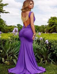 Wholesale Embellished Mermaid Dress - New Purple Tassel Chain Open Back Mermaid Maxi Dress Sexy Scoop Neck Sleeveless Tassels Embellished Long Dress For Women W850350