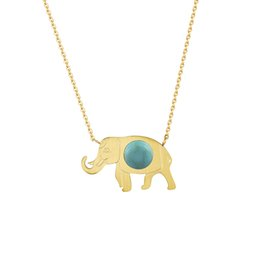 Wholesale Turquoise Elephant Necklaces - Wholesale 10Pcs lot 2017 Hot Sale Stainless Steel Jewelry Pendant Cute Elephant Luxury Turquoise Gold Chains Choker Necklaces For Women