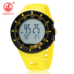 Wholesale Led Running Display - Top sale OHSEN brand New LED Digital Display Man Male outdoor fun Sports Watches 50M Water Resistant Yellow fashion Running Swimming watches