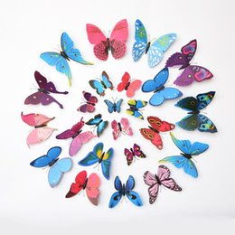 Wholesale Butterfly Decorations For Home - 12pcs New Art Decal Wall Stickers Room Decorations 3D Butterfly Wall Stickers Butterflies Decors For Home Fridage Decoration