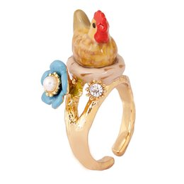 Wholesale Top Beautiful Rings - Beautiful Flower Hen Ring Gold Plated Rings For Girls Top Qualtiy France Fashion Jewelries Romantic lover Gifts Free Shipping