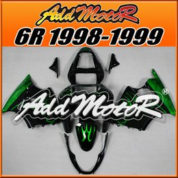 Wholesale Kawasaki Zx 6r - Fairings Addmotor NewDesign Compression Mold ABS For Kawasaki ZX6R ZX 6R 1998-1999 98 99 Flames Green Black K6807 +5 Free Gifts Best Choice