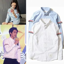 Wholesale collar sale - Brand Shirt Hot sale High quality fashion men's cotton Oxford spinning leisure long-sleeved shirt lapels Browned shirts