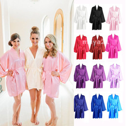 Wholesale Bathrobes For Cheap - Long Sleeves Cheap Bridesmaid And Bride Robes Silk Bathrobe Wedding Party Robe Kimono Silk Satin Robes for Bridesmaid Silk Wedding Robe