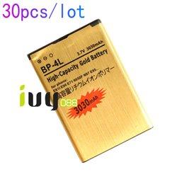Wholesale E72 Battery - 30pcs lot 3030mAh BP-4L Gold Replacement Battery For Nokia E61i E63 E90 E90i 6650F N97 N97i E95 E71 E71x E72 E73 E75 E52 E55 N810 Batteries