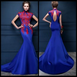 Wholesale Tailored Gowns - Luxury Dubai Arabic Mermaid Evening Dresses Dubai Formal Royal Blue Satin Prom Gown Tailored Moroccan Kaftan