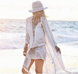 kimono con flecos Rebajas 2016 Nuevas Señoras Del Verano de Moda Con Flecos Kimono Cardigan Mujeres Blusa de Encaje Blanco Playa Kimonos Vacaciones protector solar