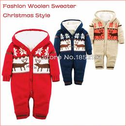 Wholesale warm baby snowsuit - Retail 2016 Christmas Elk Baby Winter jumpsuits Newborn brand baby snowsuit warming thicken coral velvet Woolen sweater rompers Outwear