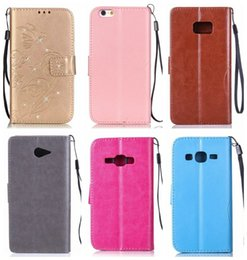 Wholesale Diamond Flower Leather Case Iphone - For IPhone 7 I7 6 6S Plus SE 5 5S Galaxy S7 Edge S6 Plus J120 J2 Diamond Floral Bling Strap Flower Butterfly Wallet Leather Pouch Flip Cover