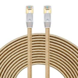 Wholesale Modem Tablet - Premium CAT7 Double Shielded 10 Gigabit 600MHz Ethernet Patch Nylon Noodle Cable for Modem Router LAN Network with Shielded RJ45 Connectors