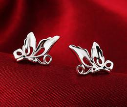 Wholesale Butterfly Jewelry Earrings - Sterling silver butterfly earrings Korean women's lovely delicate butterfly jewelry wholesale women
