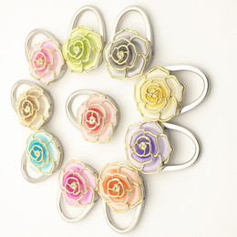 Wholesale Multi Folded Hanger - Creative Fashion Rose Handbag Hooks Folding Purse Hooks Handbag Purse Hook Hangers for Table Multi Gradient Color Selection
