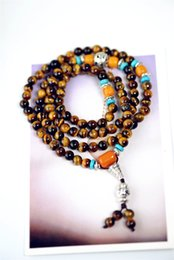 Wholesale Natural Stones String - Natural yellow tiger eye stone bracelet 108 beads beads bracelet multi-layer men and women Buddha natural crystal bracelet hand string x47