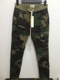 Wholesale Chinos Trouser - New S-2XL urban brand-clothing chinos kanye west camo camouflage trousers joggers men FOG FEAR OF GOD cargo side zipper pants