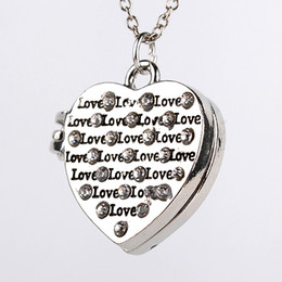 Wholesale Heart Locket Photo - Rhinestone heart shaped locket necklaces love photo locket pendant necklace sterling silver plated charms for lover hand stamped letter
