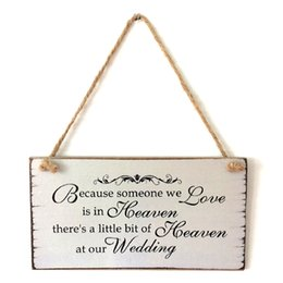 Wholesale Party Guest Books - Romantic Love is in Heaven Wood Sign Good Wish MR MRS Guest Book Sign Plaque Wooden Hanging Board Gift Wedding Party Decor