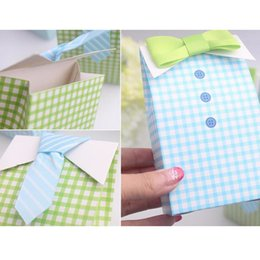 Wholesale Baby Shower Favor Bag Blue - Wholesale- 2016 20 pcs My Little Man Blue Green Bow Tie Birthday Boy Baby Shower Favor Candy Treat Bag Wedding Favors Candy Box Gift Bag