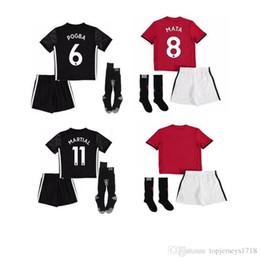 Wholesale Black Half Socks - kids kits 17 18 Man Utd POGBA Soccer Jersey United 2017 2018 ibrahimovic Lukaku Rashford MATA Mkhitaryan kid+socks Home away football shirts