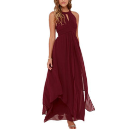 Wholesale Cheap Ladies Formal Wear - 2016 Burgundy Prom Dresses With Jewel Neck Pleats Draped Chiffon Women Formal Dresses Evening Wear Long Ladies Party Gowns Cheap