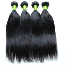 Wholesale European Hair Extentions - Hair Extentions Straight Malaysian Hair 4 Pcs Lot Natural Color Black 1B Dyeable Double Weft Straight Malaysian Hair Bundles Free Shipping