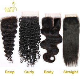 Wholesale Kinky Hair Closures - Brazilian Lace Closure 4x4 Peruvian Malaysian Indian Cambodian Mongolian Body Wave Straight Deep Loose Wave Kinky Curly Human Hair Closures