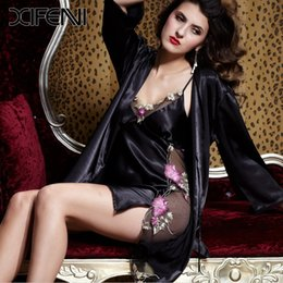 Wholesale Silk Lingerie Woman Size - Wholesale-2016 Featured Black Silk Robes Women Luxury Sexy Lingerie Long Sleeve V-neck Pajamas pijamas Plus Size