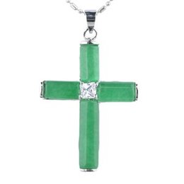 Wholesale Jade Crosses - MJP42 Teboer Jewelry 5pcs Wholesale Cross Malaysia Jade Pendant Jewelry with Zircon Women Jewelry