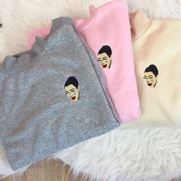Wholesale neck patch - Wholesale- kimoji crying kim kardashian embroidery patch long sleeve sweatshirt emoji