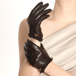Wholesale Leather Opera Gloves Sale - Hot Sale 2016 Real Genuine Leather Goatskin Gloves Women Wrist Fashion Solid Driving Glove Time-limited Free Shipping El006nn-2