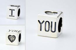 Wholesale Love Square Bracelet - 8*8*8MM 925 Silver Square Charms Beads Fit European Bracelets For 2016 Fashion Style LOVE DIY Charm Pendant