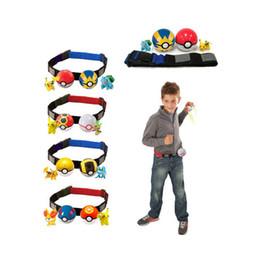 Wholesale Telescopic Ball - Poke belt ball Pikachu sets toys New children cartoon Cosplay poke go ball Telescopic belt set Charmander Jeni turtle toys