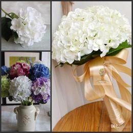 Wholesale Wholesale White Silk - Elegant white Hydrangea Artificial Silk Flower Wedding Bridal Bouquets Christmas Ornament Garland Wedding Centerpieces Home Party Decoration
