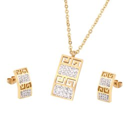 Wholesale 18krgp Gold - Brand Design 18K Rose Gold Plated Rome Style Austrian Crystal G Design Woman Jewelry Sets Necklace Earrings Stud Wholesale 18krgp