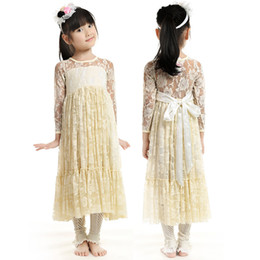 Wholesale Tutu Materials - Lace Wedding Girls A-Line Dresses with Satin Bow Long Sleeve Autumn Beach Girls Dresses Girls Clothing Lace Material