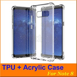 Wholesale Cheap Acrylic Cases - Cheap Hybrid Rubber Shockproof Heavy Duty Armor Bumper Soft Thick TPU Frame + Hard Acrylic Back Cover Case For samsung Note 8 DHL 100pcs