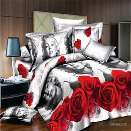 Wholesale king size sheet set cotton - Sexy Monroe Floral Printed 4 Pcs Bedding set, King Size Quilt Duvet Cover Bed Sheet Pillowcase Set, Home Textile Wedding Bedclothes