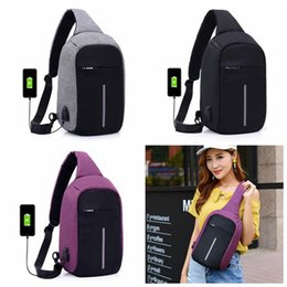 Wholesale Connector Bags - USB One Strap Shoulder Bag Anti-thief Backpack With USB Connector Polyester Sling Bags Chest Crossbody Bag 20pcs OOA3173