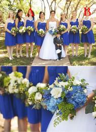 Wholesale royal blue wedding dress s - 2017 Beach Elegent Bridesmaid Dresses Sweetheart Chiffon Royal Blue Knee Length Wedding Guest Wear Party Dress Plus Size Maid of Honor Gowns