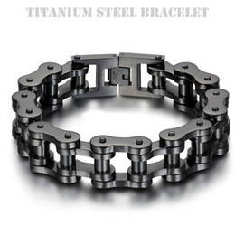 Wholesale Ip Set - Titanium Steel IP Black Plating Biker Bicycle Chains Bracelet Punk Wristbands Brace lace Male Trendy Jewelry High Quality 23cm