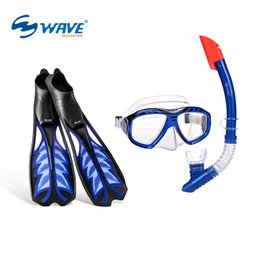 Wholesale Fins For Diving - Wholesale- WAVE Diving Mask and Swim Fins Set for Adult Diving Set Anti-fog Swimming Goggles and Long Swimming Fins Set