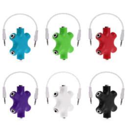 Wholesale Red Headphone Cord - 3.5mm Headphone Earphone Audio Splitter 1 Male to 2 3 4 5 Female Port Cable Cord 2016 Hot White