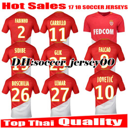 Wholesale Monaco Gold - TOP Thai QUALITY JOVETIC 10 17 18 Monaco Home red Soccer Jersey 2017 2018 BERNARDO BAKAYOKO CARRILLO FALCAO MBAPPE jeresys football Shirts