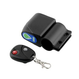 Wholesale Remote Alarm Bike - Wholesale-Lock Bicycle Cycling Bike Security Wireless Remote Control Vibration Alarm Super Loud Anti-theft Black Free shipping